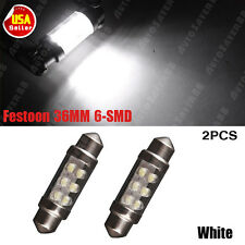 2x Festoon 36mm 6-LED White Light Bulbs - License Plate Lights - SMD C5W 6418 US
