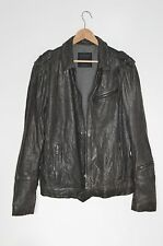 **ALLSAINTS** Spitalfields Mens Grey Caldwell Military Biker Leather Jacket XL
