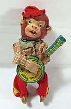 "Vintage Wind Up Toy Monkey Playing Banjo Japan 6"" Tall Head Bobs"