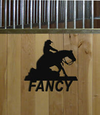 REINING HORSE STALL SIGN-HORSES-EQUESTRIAN DECOR-HORSE SIGNS-SADDLES-HALTERS