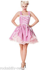 Hell bunny summer dress pink gingham cowgirl new size 10 40s/50s style gwen