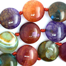 "20mm multicolor agate coin beads 15"" strand"