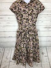 Sundance Catalogue Silk Floral Retro Dress Size 6 Tie Waist Zip Up