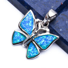 BLUE OPAL BUTTERFLY .925 Sterling Silver Pendant Necklace