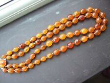 ANTIQUE NATURAL AMBER BEAD NECKLACE BUTTERSCOTCH EGG YOLK 55 grms