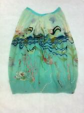 Tsumori Chisato turquoise blue whimsical printed silk dress
