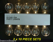 2 x 10 Piece Large LED Clear Festoon / Party Globe String Light Kit