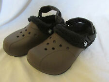 Crocs Brown Sherpa Lined Clog Shoes Slip-On Men's 4 - Women's 6 - Excellent Cond
