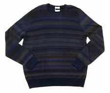 Mens COUNTRY CLUB Blue Striped 100% Cashmere Crew Jumper Sweater 54 XL NWT