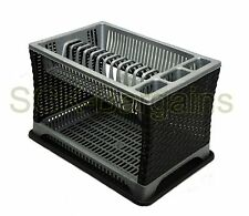 Plastic 2 Layer Tier Dish Drainer Rack Utensil Cutlery Kitchen Silver - Black