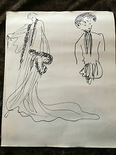 Yves SAINT LAURENT Dessin original. Croquis de deux robes. Dimensions 45 x 55 cm