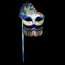 Handheld Stick Mask, Women Mardi Gras Beaded Masquerade Mask [Royal Blue]