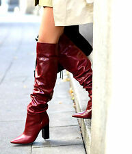 ZARA RED LEATHER HIGH HEEL POINTED OVER THE KNEE BOOTS WIDE LEG SIZE UK 2 35