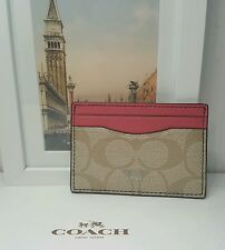 NWT Coach Signature Canvas Card Case/Holder Khaki/Strawberry - F63279 MSRP $65
