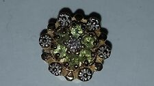 10K Gold Floral Flower Slide Charm for Bracelet Diamond Peridot Gemstone