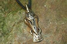 Anhänger Amulett Rabe Bronze plus Lederband Hugin Munin  Mittelalter Wikinger