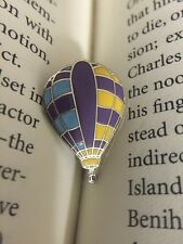Hot Air Balloon Purple Yellow Blue Silver Tone Metal and Enamel Lapel Pin