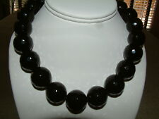 BLACK FACETED ONYX ROUND GEMSTONE BEAD NECKLACE 20mm, 17 Inches