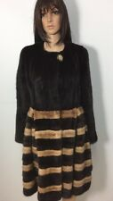 3 TONES GENUINE BROWN BEIGE MINK FUR COAT HUGE SKIRT SZ.M HORIZONTALE