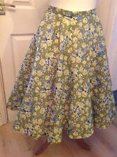 """Full Circle Swing Skirt Green Lime Floral 1950s Rockabilly  30"""" Size 12"""