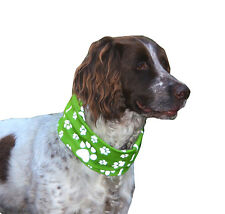 REFLECTIVE GREEN PAW & BONE PRINT DOG SCARF/SNOOD - RUFFNEK® bandana for dogs