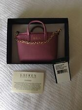 Lauren Ralph Lauren Newbury pink mini bag key charm key fob Brand New With Tag