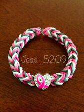PINK Breast Cancer Support Awareness Ribbon Rainbow Loom Glow Stretch Bracelet