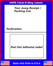 25 Laser /Ink Jet Labels Click-N-Ship with Tear Off Receipt -Perfect for USPS!