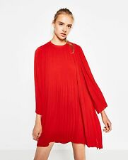 BNWT  ZARA RED PLEATED DRESS SIZE M