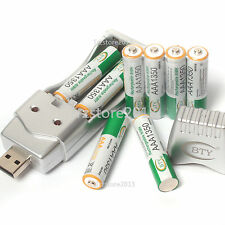 8 X 1.2 V AAA 1350mAh Ni-MH BTY Rechargeable Battery Cell + AA AAA USB Char