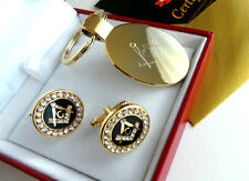 FREEMASON 24ct GOLD Logo Keyring and Crystal Masonic Cufflinks Gift Set in Case