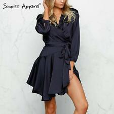 Sexy Women Deep V Neck Satin Dress Pajama Sleepwear Waist Tie Ruffles Mini Dress
