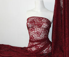 Burgundy 4 way stretch lace Fabric