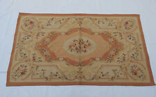 Old hand made french design original laine aubusson tapis 160X90cm (T629)