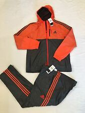 NEW ADIDAS GYM FITNESS ESSENTIAL WOVEN TRACKSUIT JACKET PANTS ORANGE MENS XL