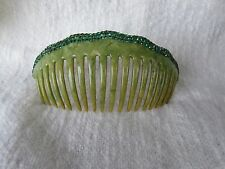Vintage Green Mottled Celluloid Hair Comb w Green Rhinestones