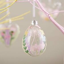 Gisela Graham Easter Decoration Floral Clear Glass Egg Pastel Flowers