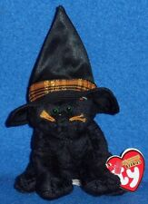 TY MERLIN the CAT HALLOWEENIE BEANIE BABY - MINT with TAG -PRICE STICKER RESIDUE