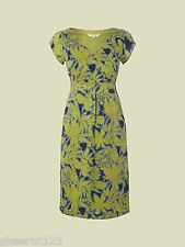 New White Stuff Lena Tropical Lime Green Navy Blue Summer Dress Size 14 SALE