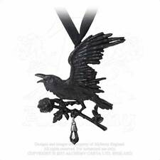 Alchemy Harbinger Pendant/Necklace P739 gothic/crow/wicca/raven/rose/crystal/emo