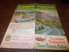 1956 Alberta Province-issued Vintage Road Map