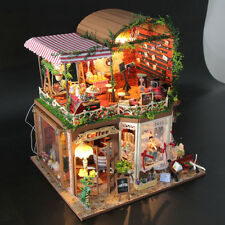New DIY Coffee House DollHouse LED Doll house Decor Miniature Kit Christmas Gift