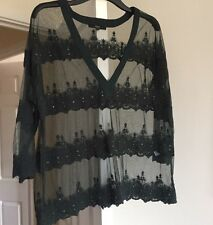 Next Green Sheer Lace Embellished Jewelled Top Size 16