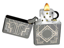 Zippo Lighter 28950 Engraved Black Ice Art Deco Design Windproof Classic NEW