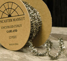 12 ft ~ Antiqued SILVER Tinsel Garland ~ Wired ~ Easy to Bend & CURL
