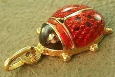 """uno a erre 14k Yellow GOld 1"""" Enamel Ladybug PENDANT ITALY LOWEST ON EBAY"""