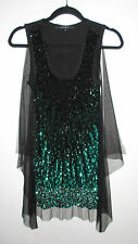 GIVENCHY BLACK GREEN SEQUIN TULLE OVERLAY TUNIC TOP XS