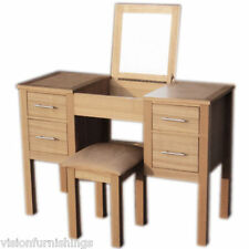 New 4 Drawer Real Ash & Oak Finish Complete Dressing Table Complete + Mirror