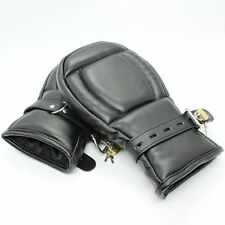 Straight jacket, leather puppy mitts hand restraints arm restraint party wear