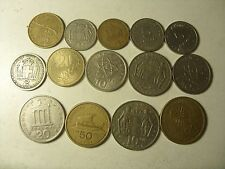 LOT OF 14 GREECE COINS 1-100 DRAHMAI 1959-2000